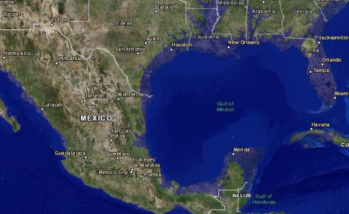 """Yucatán y Quintana Roo desaparecen en este """"mapa deinundación"""""""